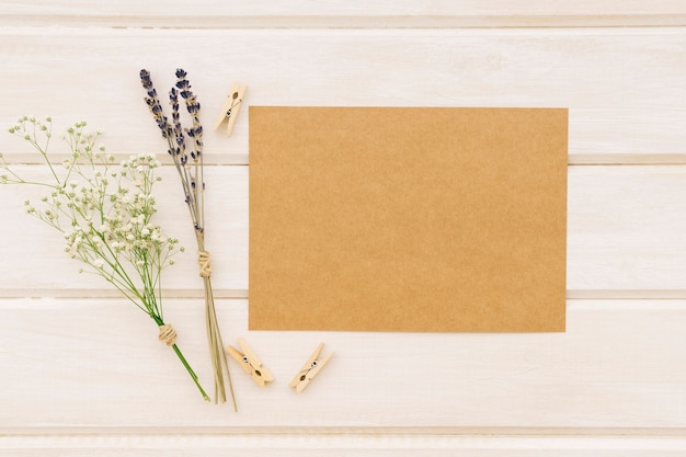 Template for weddings with flowers and clothespins