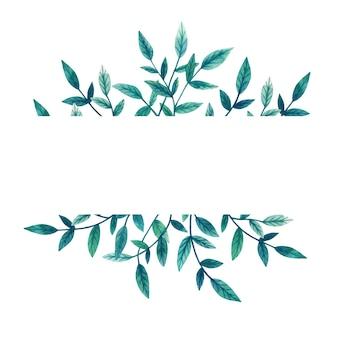 葉の緑の枝を持つテンプレート。花のフレーム。手描きの水彩イラスト。植物ラベル。