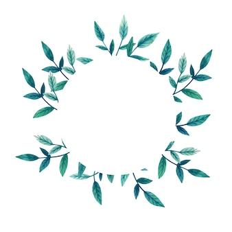 葉の緑の枝を持つテンプレート。丸い花柄。手描きの水彩イラスト。植物ラベル。