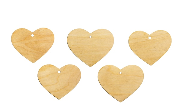 Template of a wooden heart with a slot for a pendant on a white background, isolate. mock up for invitation, valentine's day, business card