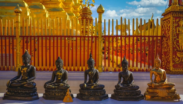 Temple in bangkok thailand ancient architecture art chedi phra that doi suthep in chiang mai, thailand asia