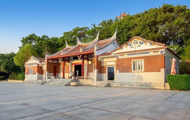중국 샤먼, 남쪽 특성을 가진 사원 건물.