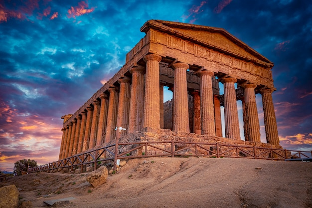 Temple of concord in agrigento in italy.