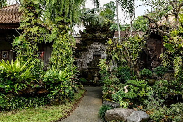 Temple in the jungle of bali island.