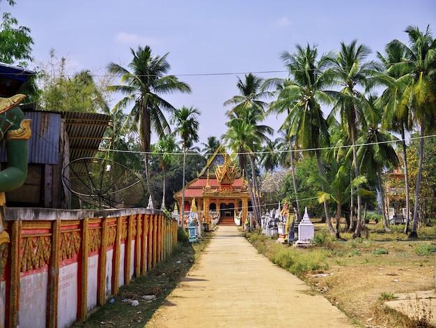 The temple on mekong river, champassak, laos