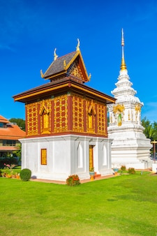 Temple in north of thailand, the left is library of buddhist scriptures. buddhist temple of wat huakuang, nan province, thailand