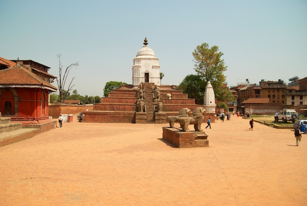 오래 된 불교 도시의 사원. baktaphur, 네팔