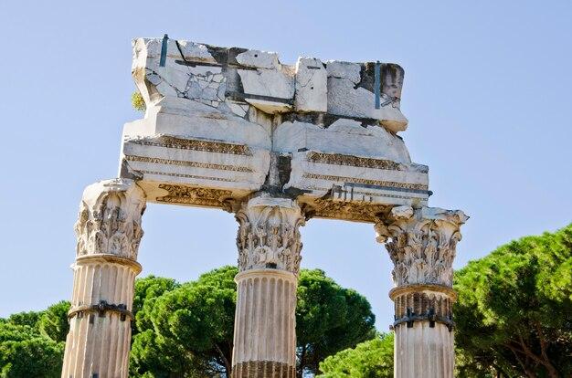イタリア、フォロロマーノのポルックス神殿とキャスター