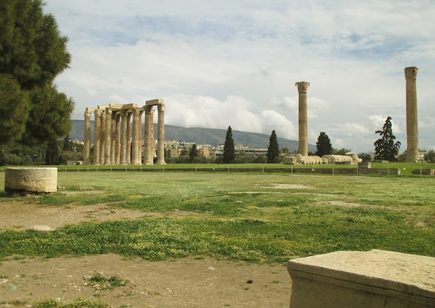 The temple of olympian zeus at the city center of athens, greece