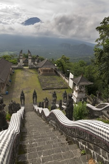 Temple pura lempuyang and view of a volcano  agung. bali. indonesia