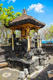 The temple of tanah lot and its small corners. indonesia