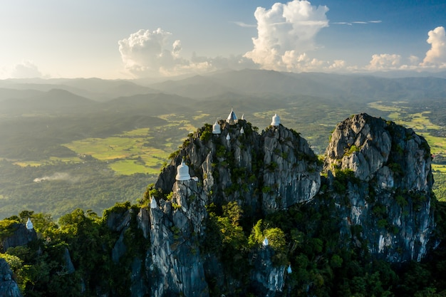 Temple on top of the mountains in thailand
