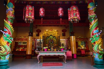 Temple with a table with decorations