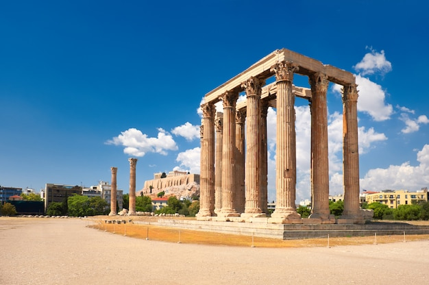 Temple of zeus with acropolis in athens, greece