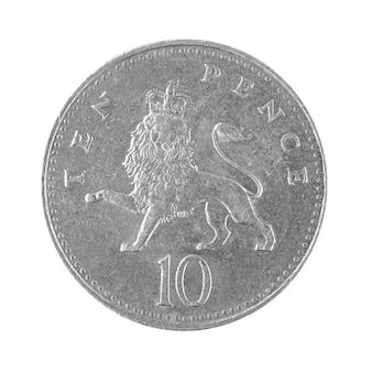 10ペニーペンスコインイギリス1992年のお金が白い背景の写真に分離されました