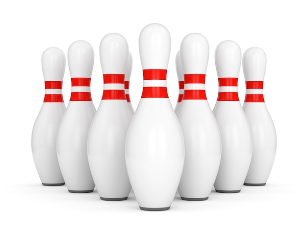 Ten bowling pins with red stripes isolated on white background. 3d illustration