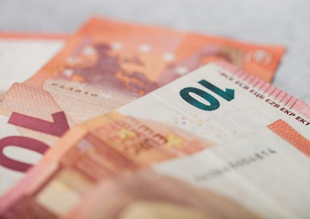 Ten euro banknotes close up
