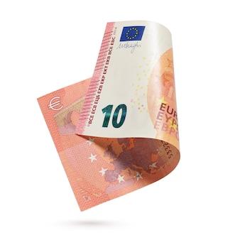 2014年10ユーロ紙幣。白い背景に分離されたヨーロッパの通貨紙幣。