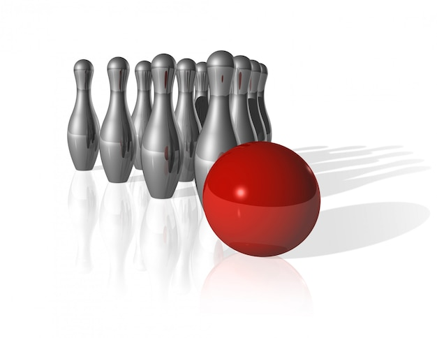 Ten metal bowling skittles and red ball on white
