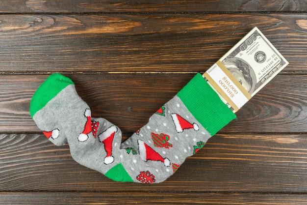 Ten thousand dollars inside christmas socks