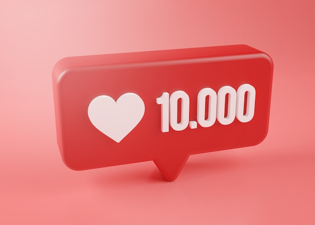 Ten thousand love notification icon 3d rendering on pink background