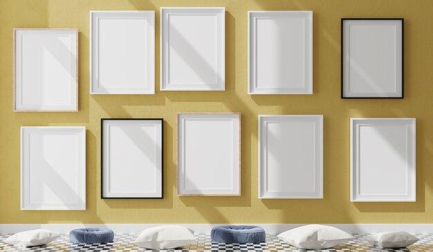 노란색 벽에 10 개의 세로 흰색 프레임