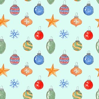 Нежный синий рождественский фон с красочными акварельными шарами и снежинками