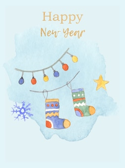 Tender blue watercolor christmas card with stocking garland and snowflake with greeting text