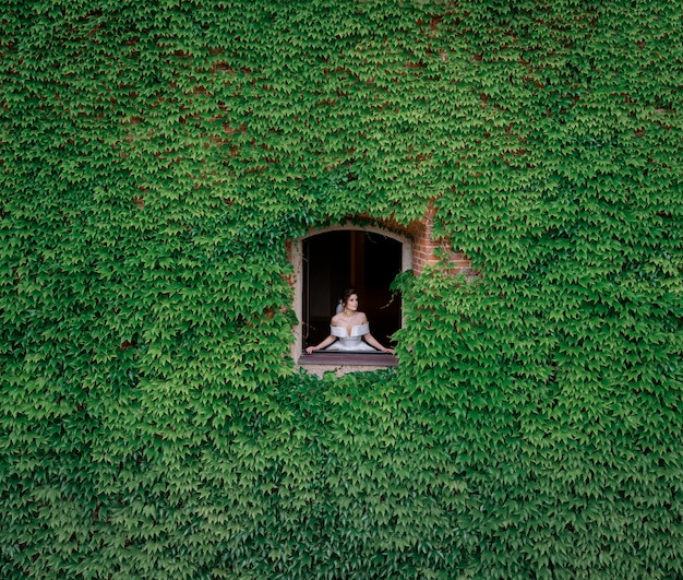 Tender bride is looking from the window, from the building fully covered with leaves