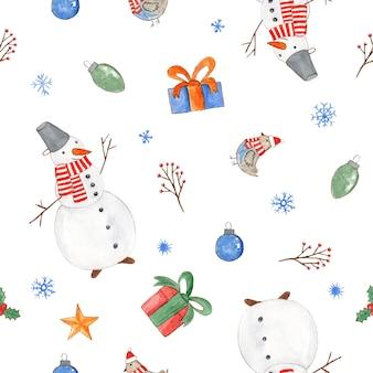 Нежный рождественский бесшовный образец с милыми акварельными снеговиками в подарочной коробке, птицами и снежинками