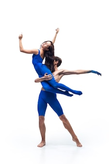 Tender couple of modern dancers art contemp dance blue and white combination of emotions