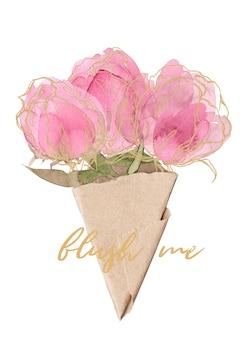 Tender flowers, buds, petals, leaves on transparent background