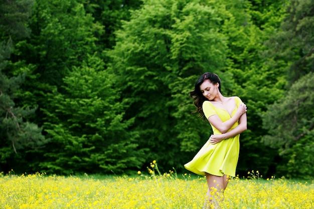 Tender girl in the meadow