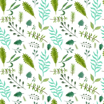 Tender greenery seamless pattern with green and blue leaves and branches for textile design