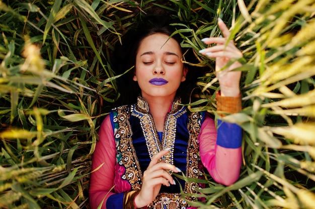紫色の唇とサリーの柔らかいインドの女の子は、日没のフィールドでポーズを構成します。ファッショナブルなインドのモデル。