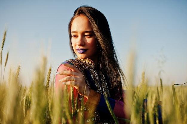 Tender indian girl in saree, with violet lips make up posed at field in sunset. fashionable india model.