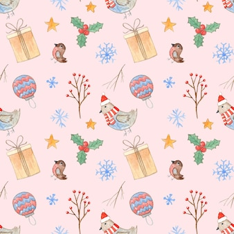 Tender pink christmas seamless pattern with cute watercolor branches giftbox birds and snowflakes