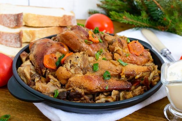 Нежное мясо кролика с лесными грибами