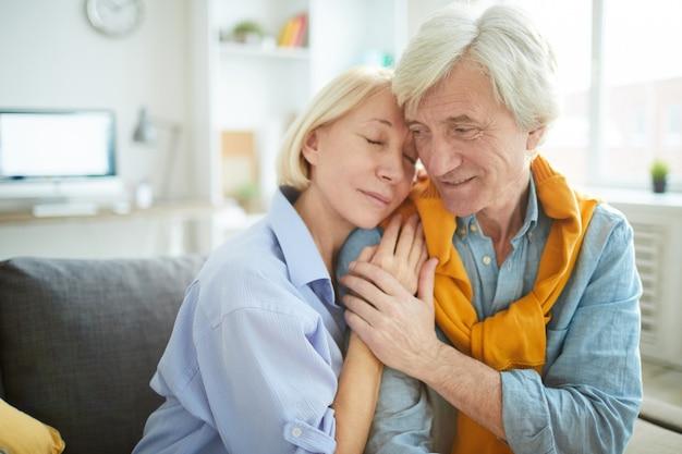 Tender senior couple in love