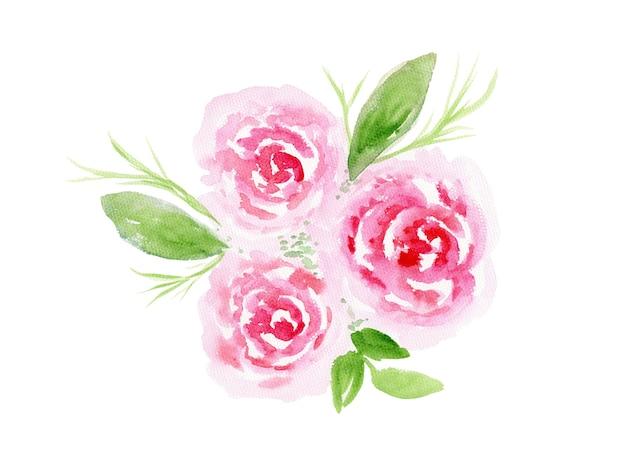 녹색 잎과 꽃과 부드러운 수채화 핑크 꽃 장미 꽃다발