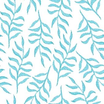 Нежная акварель бесшовный образец с синими листьями и ветвями на белом фоне