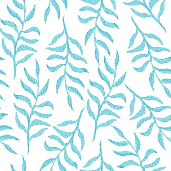 Tender watercolor seamless pattern with blue leaves and branches on white background