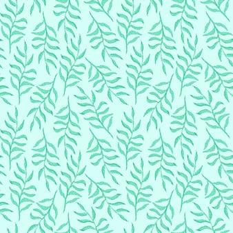 青の背景に薄緑の葉と枝と柔らかい水彩画のシームレスなパターン