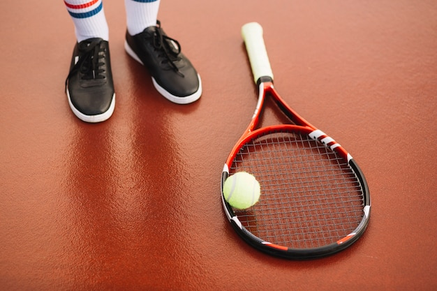 Tennis equipment on the field