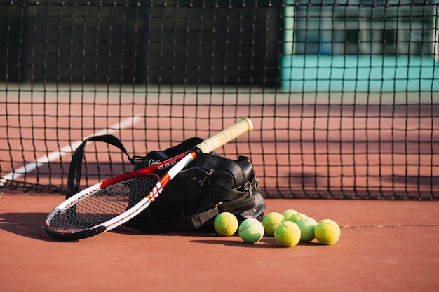 Tennis equipment on the tennis field