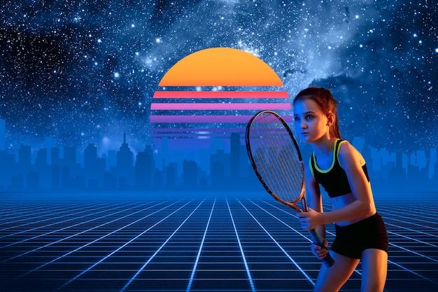 Теннисистка. красивый фон, синти-волна и ретро-волна, футуристическая эстетика паровой волны. ультрафиолет, спортсмен в светящемся неоне. стильный флаер для рекламы, предложения, ярких цветов и вида на город.