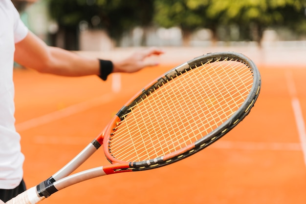 Tennis player holding a racket