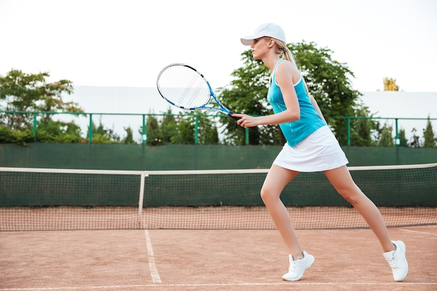 Tennis player playing on court