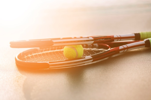 Tennis rackets with a ball