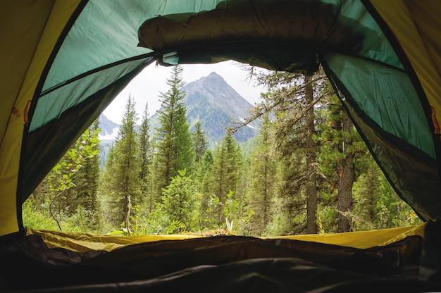 캠프에서 텐트입니다. 내부에서 보기